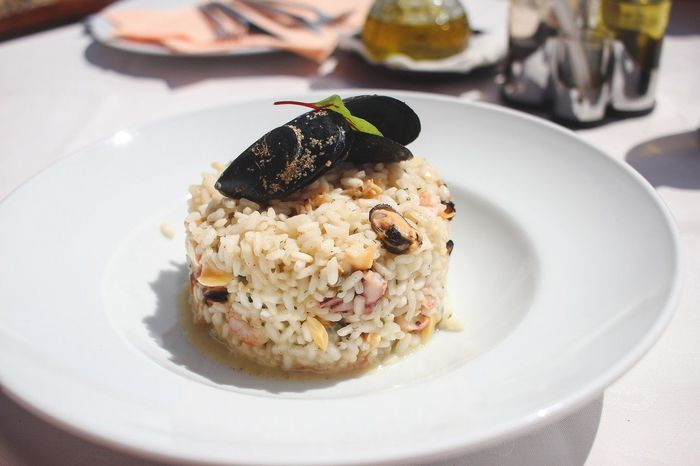Risotto with fresh seafood Close-up Croatia Day Delicious Food Food And Drink Food And Drink Food Porn Freshness Healthy Eating Holiday Indoors  Mussels No People Plate Ready-to-eat Restaurant Risotto Schrimp Sea Seafood Serving Size Summer Table Vacations