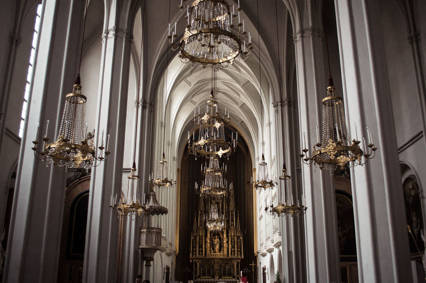 Arch Architectural Column Architectural Feature Architecture Built Structure Cathedral Ceiling Chandelier Church Day Decoration Design Illuminated Interior Low Angle View No People Ornate Place Of Worship Religion Spirituality Stained Glass Travel Destinations