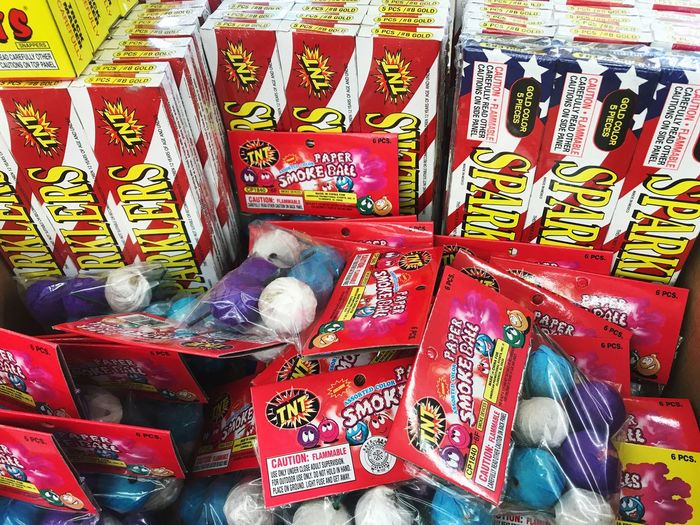 Time to buy fireworks. Stocking up on fun, safe fireworks for the Independence Day celebration. Fireworks Stand Fireworks Store Fireworks Celebration Kiosk Sparklers Smoke Ball Smoke Bomb Preparing for Independence Day in the US. No People Patriotism USA Firework Sale USA FLAG Fireworks For July 4th Buy Fireworks