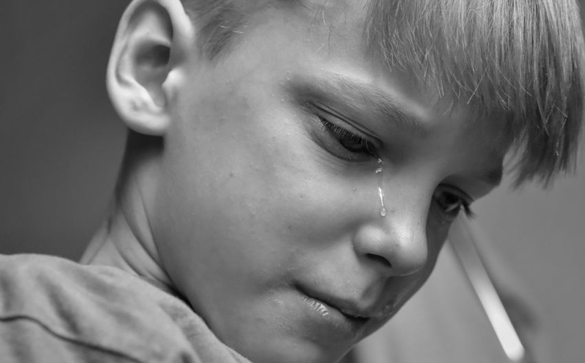 Close-Up Of Boy Crying