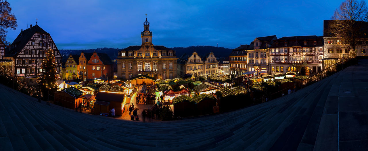 Panoramic View Of Christmas Market in Schwäbisch Hall, Germany Architecture Baden-Württemberg  Christmas Christmas Market Christmas Tree City Cityscape Classic Germany Gothic Half-timber House Half-timbered Hall Haller Market Market Place Night Old Panorama Panoramic Photography Panoramic View Schwäbisch Hall Sky Tree Weihnachtsmarkt