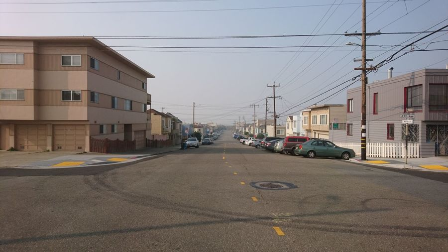 Outer Sunset. San Francisco SF California CA United States USA Outer Sunset Hazy  Haze Simplicity Minimalism Street Streets Of San Francisco Street Photography Urban Landscape Cityscape Near The Ocean Urban Beauty City Street City Street Architecture Building Exterior Built Structure Sky