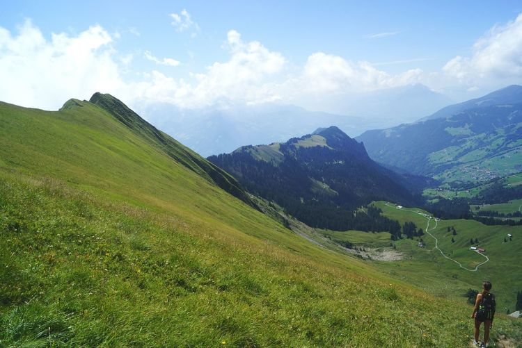 Switzerland Lonley Beauty In Nature An Eye For Travel Mountain Landscape Nature Scenics Mountain Range Cloud - Sky Grass Vacations Hiking Travel Destinations Outdoors Sky Tree