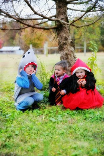 Friendship Tree Child Childhood Boys Togetherness Girls Smiling Sitting Cheerful Halloween Dressing Up Costume Trick Or Treat October