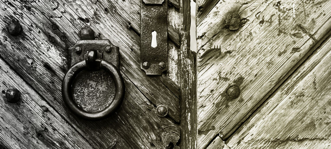 Close-up of old metal door