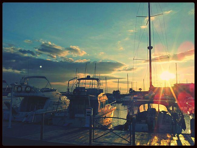 Barcares Marina Boat Sunset