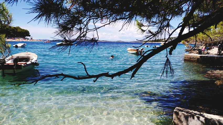 One of my favorite places in the world...Primošten! EyeEm Nature Lover Boat Like4like Follow4follow Croatia Primošten Travel Travelling Lifestyles Beach Photography Blue Girl Day Nature Tranquility Beach Beauty In Nature Sky