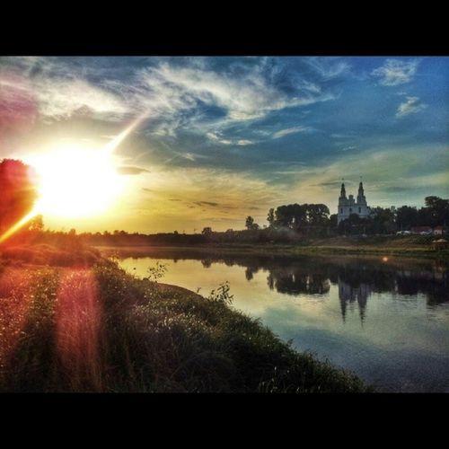Polotsk River Dzvina Sunset sundown sun church sky nocrop instamark instagood beautiful instamood