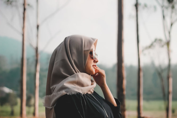 Young woman hijab style on nature