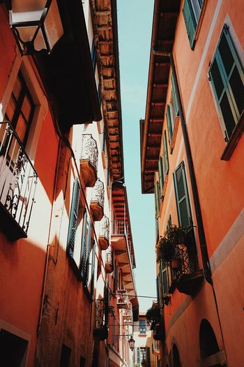 Old town buildings, Italy. Architecture Awning Balcony Building Exterior Built Structure City Day Low Angle View No People Old Buildings Outdoors Residential Building Sky Window