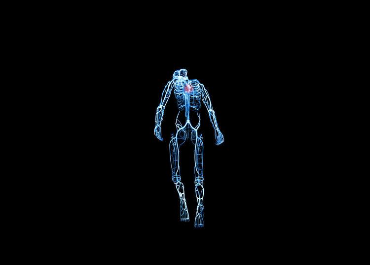 Digital composite image of skeleton on black background