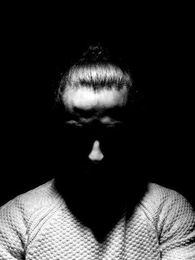 Tamed. Shadows & Lights Shadowplay Black & White Blackandwhite Photography Manbun Man Bun Selfportrait Hairstyle Front View Portrait EyEmNewHere