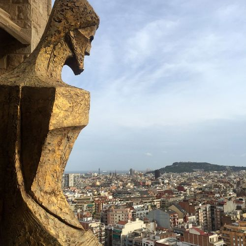 Sagradafamilia Sagrada Familia View Jesus Sculpture City Barcelona Jesus Statue jusus looking over the city of Barcelona