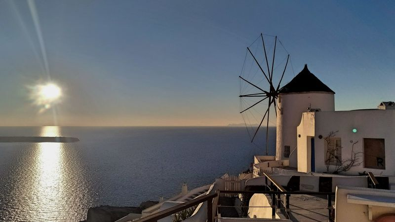 || Nature Theories || Santorini, Greece. TheFoneFanatic Vacations Mobilephotography PhonePhotography Colorful Zenfone Photography Windmill Traditional Windmill Sea Sunset