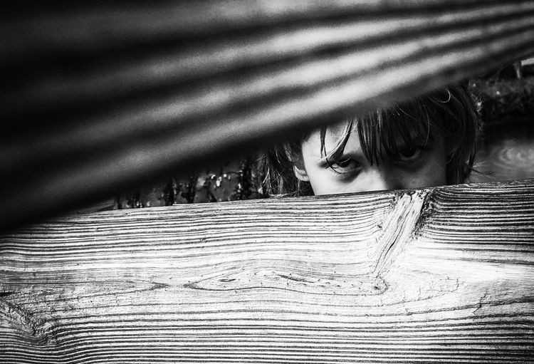 Portrait of girl looking through fence