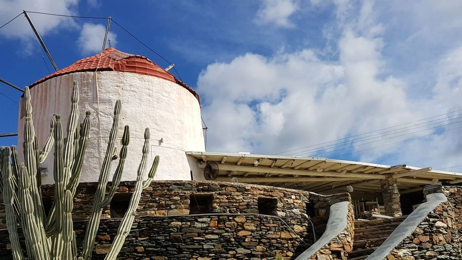 Windmill Steps Cactus Greek Islands Culture Heritage Mediterranean  Stone Material Stone Wall Windmill Blue Sky Clouds And Sky Sunny History Sky Architecture Built Structure Mill Civilization The Past