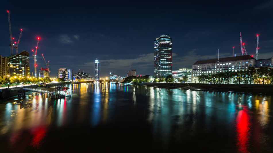 Under construction Architecture Capital Cities  Cityscape Construction England Europe London Long Exposure Night Night Lights Night Photography Nightphotography Outdoors Reflection River River Thames Skyline Skyscraper Uk Water Waterfront Cities At Night