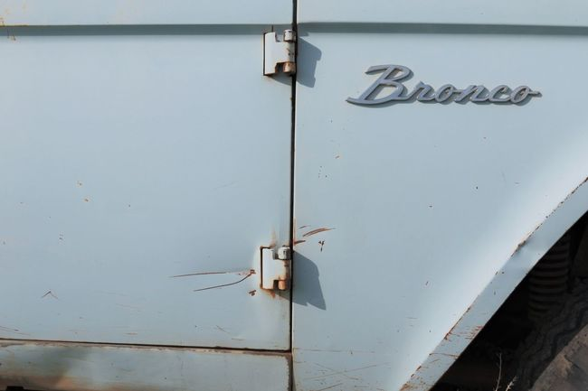 Bronco with patina 4x4 Blue Bronco Close-up D Day Hinges No People Outdoors Sky