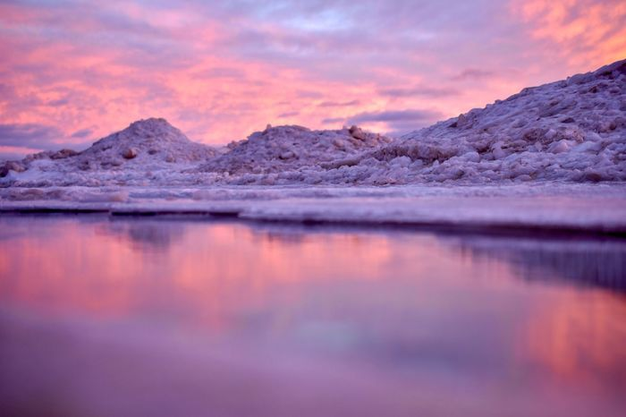 Cotton candy winter reflection. Landscape Nikon Michigan Cotton Candy Sky Ice Snow Winter Pink EyeEm Selects Reflection Sunset Scenics Beauty In Nature Nature Sky Outdoors Tranquil Scene Tranquility No People Cloud - Sky Water Cold Temperature Iceberg Day Shades Of Winter