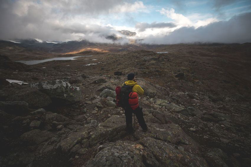 On our trek .. day 2 Lost In The Landscape Adventure Backpack Beauty In Nature Cloud - Sky Hiker Hiking Landscape Mountain Nature One Person Outdoors Scenics Sky