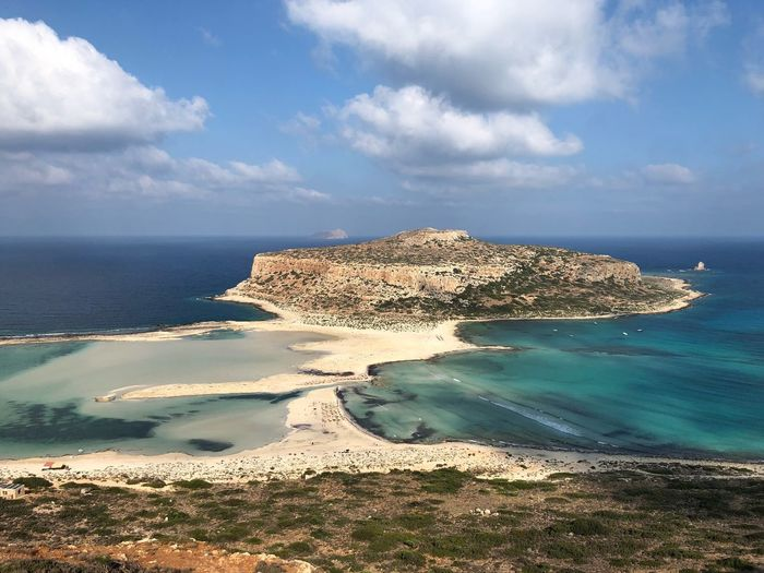Landscape Crete Kissamos Greece Balos Sky Sea Cloud - Sky Water Beach Land Beauty In Nature Scenics - Nature Horizon Over Water Tranquil Scene Tranquility Horizon No People Nature Idyllic Non-urban Scene Outdoors Day Sand Sunlight