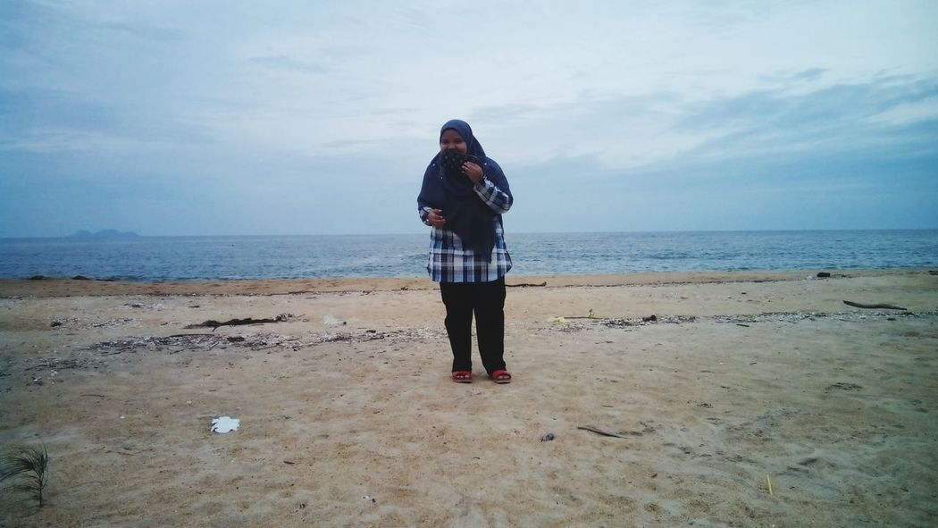 Girl Muslim Seashells, Sand And Water Skyscape Beautiful Water Sea Full Length Beach Standing Sand Women Healthy Lifestyle Sky Horizon Over Water