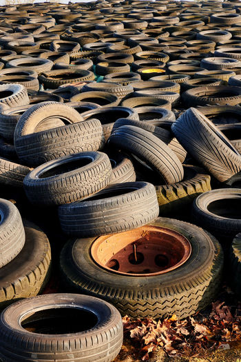 High angle view of abandoned tires
