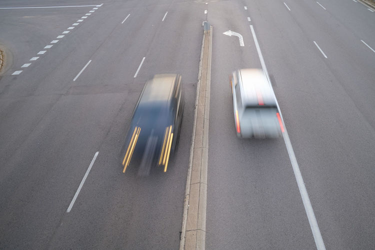 High angle view of cars on highway