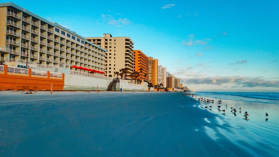 Winter On Daytona Shores Early Morning Travel Destinations Vacations Florida Tourism Tourism Water Architecture Building Exterior Built Structure Swimming Pool Blue Day Outdoors Cold Temperature Winter Sky Nature Sea Real People Beauty In Nature City