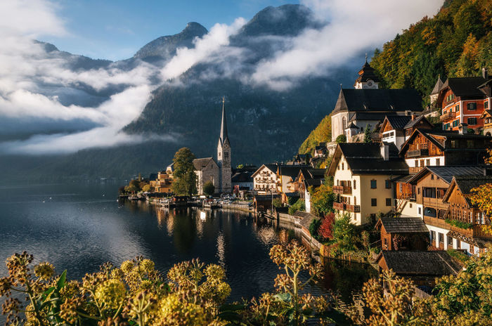 Scenic view of famous Hallstatt lakeside town reflecting in Hallstattersee lake in the Austrian Alps in morning light in autumn with bushes and flowers on the foreground, Salzkammergut region, Austria Alpine Austria Landscape_Collection Alps Alps Austria Architecture Beauty In Nature Building Exterior Built Structure Cloud - Sky Hallstatt History Landscape Landscape_photography Mountain No People Outdoors Travel Destinations Water