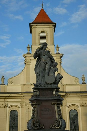 Architecture Religion Cloud - Sky Building Exterior Statue Sky Built Structure History Outdoors Travel Destinations Sculpture Day Ludwigsburg Germany Church Main Square