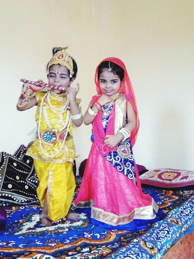 LOAD Baby Krishna and Rada Krishna And Rada Two People Child Girls Traditional Clothing Childhood Clothing Children Only