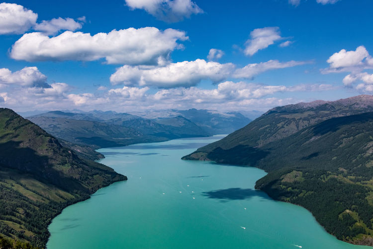 Aerial View Of Lake In Between Mountains