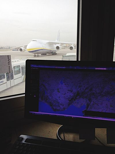 office with antonov view😎✌🏽 Technology Indoors  Computer Computer Monitor No People Table Device Screen Day Antonov AN-124 Cargo Aircraft Aircraft Work Ukraine Business Stories
