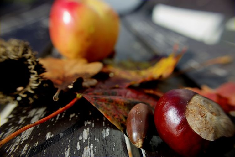 Close-Up Of Chestnuts And Leaves With Apple On Bench