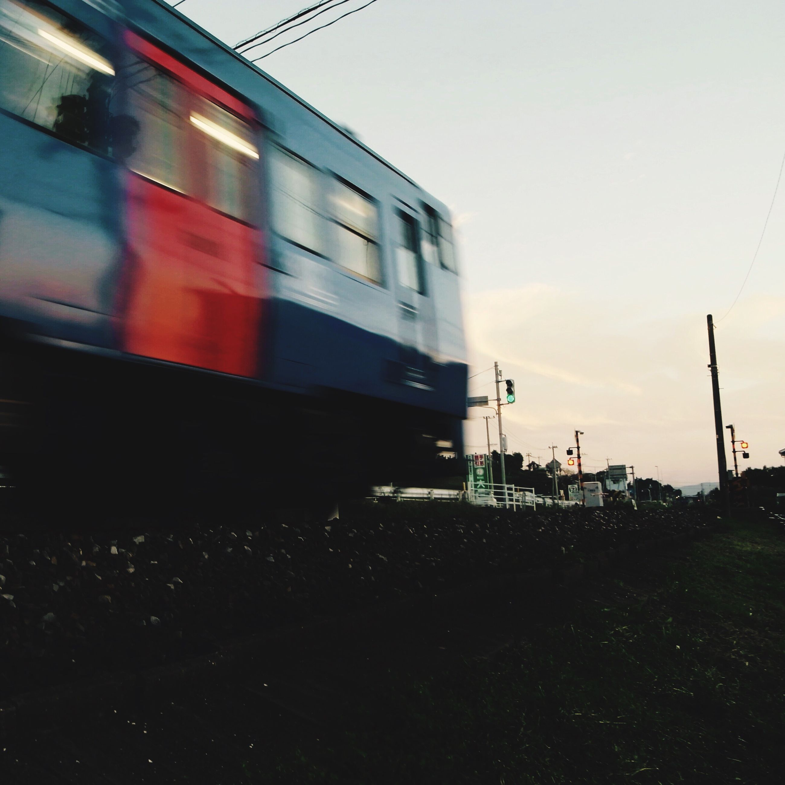 transportation, motion, outdoors, mode of transport, no people, sky, blurred motion, speed, day