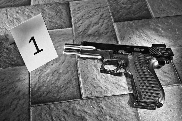 Crime Gun Light Painting Revenge TRIGGER Blood Bullet Close-up Composite Evidence Floor Handgun Homicide Label Mafia  Magazine No People Police Proof Scene Shot Suicide Tag Vengeance Weapon