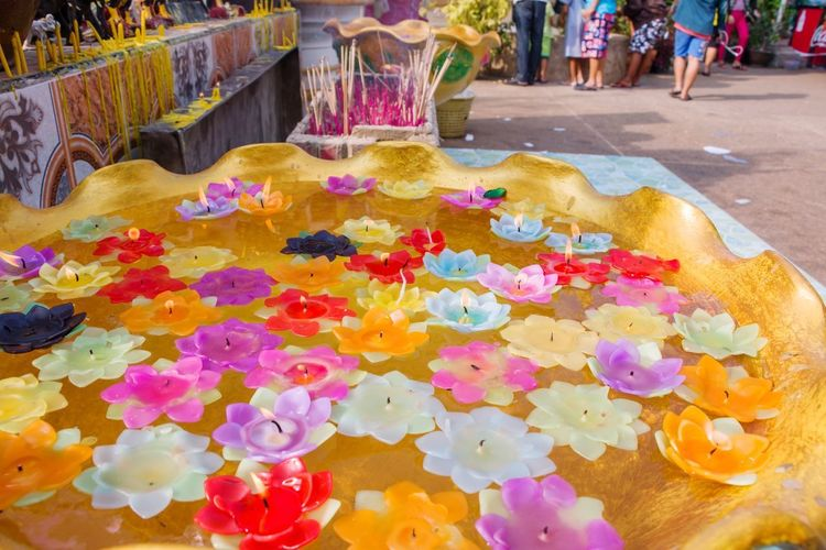 Floating candle Floating Candle Multi Colored Group Of People Celebration Incidental People Real People Day Flower Flowering Plant Art And Craft Plant People Traditional Festival Women Nature Religion Men High Angle View Belief Holi Wedding Ceremony