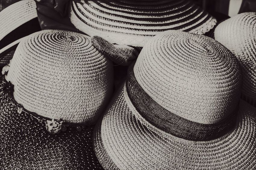 Sun Hats in toned black and white. Pattern Close-up Nawfal Johnson Outdoors Sun Hats Black And White Women's Clothing