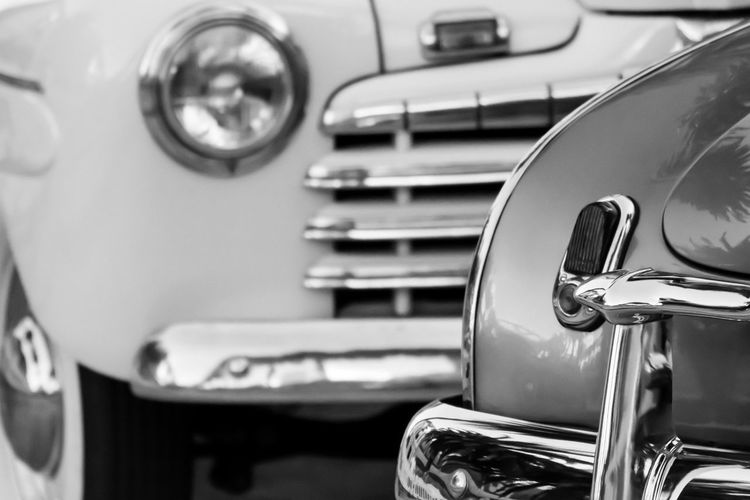 Close-up of vintage cars