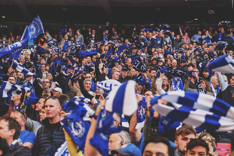 Chelsea at Wembley Crowd Large Group Of People Group Of People Real People Arts Culture And Entertainment Men Leisure Activity Sport Lifestyles Stadium Fan - Enthusiast Event Celebration Spectator Togetherness Blue Enjoyment Watching