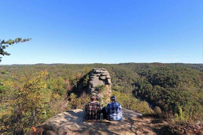 Kentucky  Lost In The Landscape Adult Adventure Clear Sky Day Friendship Landscape Lovers Leap Men Mountain Nature Outdoors People Scenics Sitting Sky Sunny Togetherness Travel Destinations Tree Two People Women