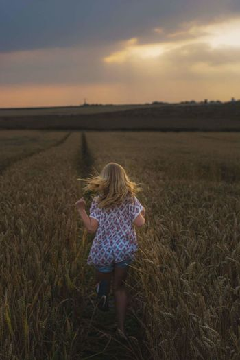 Rear view of girl walking on agricultural field during sunset