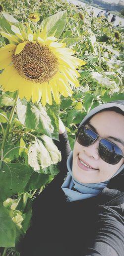 sunbatting with sunflowers 🌻 Sunflower Outdoors Taipei Taiwan Songshan Love Happy Young Women Portrait Smiling Eyeglasses  Selfie Flower Women Beauty Blooming Flower Head Day Dreaming Single Flower In Bloom Glasses