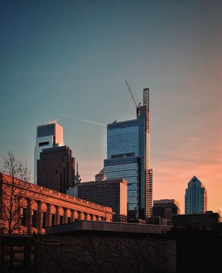 Phillylove ❤️ Architecture Built Structure Skyscraper Building Exterior Sky Low Angle View City No People Urban Skyline Sunset Outdoors Modern
