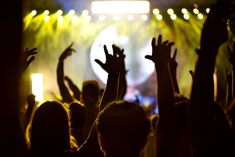 People enjoying with arms raised at music concert