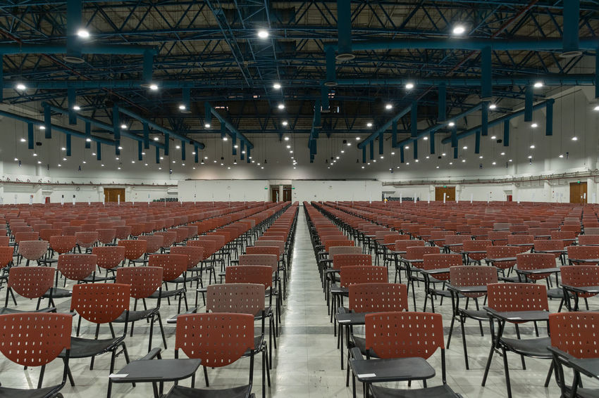 Absence Auditorium Chair Day Empty Illuminated Indoors  Lecture Hall No People Preparation  Projection Equipment Seat Seminar