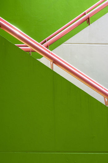 minimal Green wall and pink stair rail Green Green Wall Stairs Childhood Close-up Day Green Color Minimal No People Outdoors Rail Railling