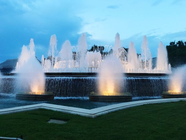 Water Motion Fountain Nature Sky Spraying Splashing