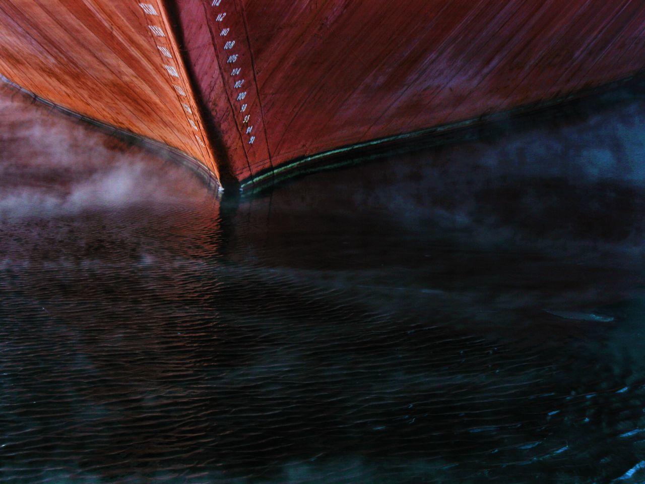 Ship on lake during winter